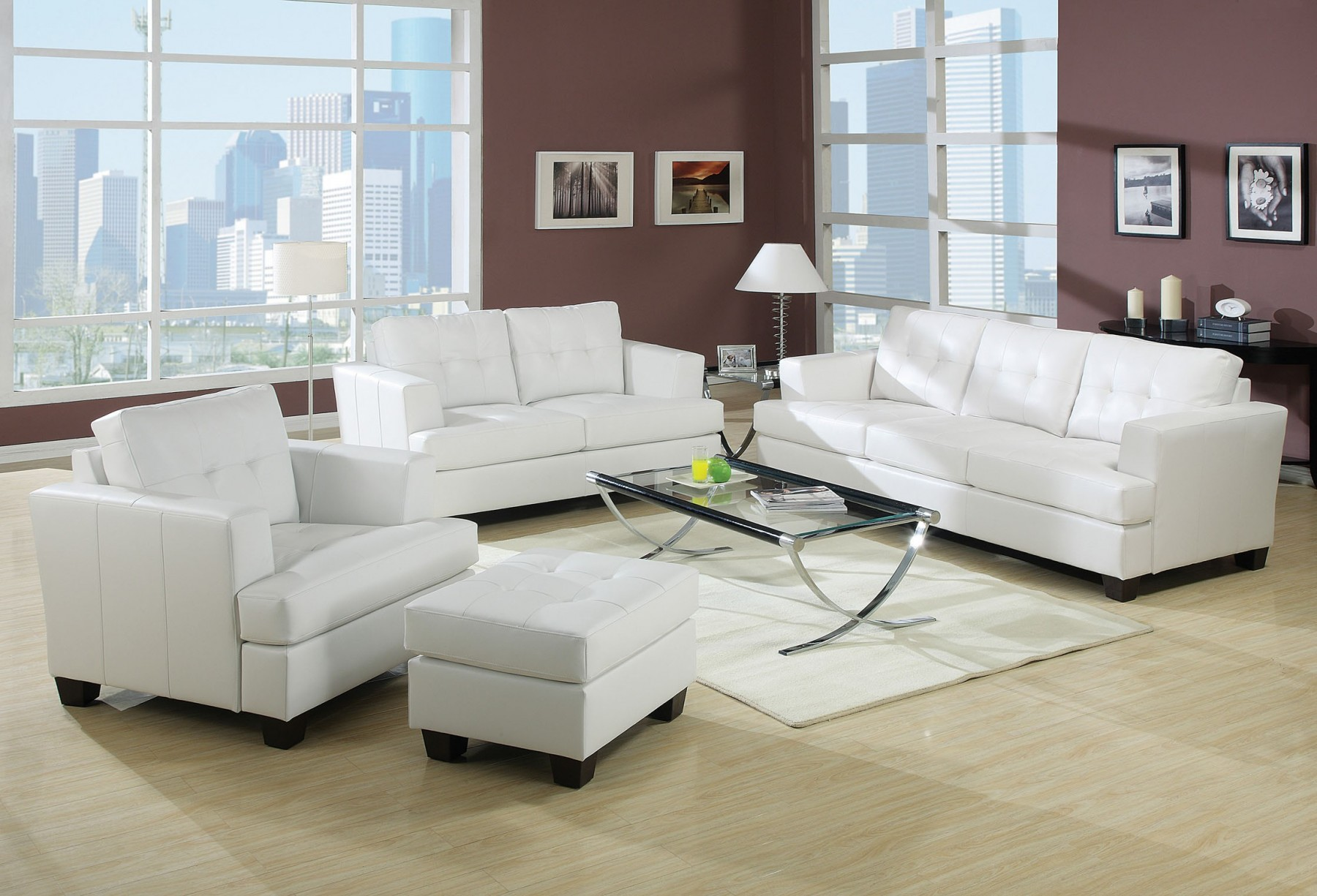 Acme Platinum White Sofa Set Sofa Loveseat Chair Contemporary White Bonded  Leather Tufted Back Couch Plush