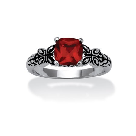 Cushion-Cut Birthstone Butterfly and Scroll Ring in Antiqued Sterling Silver - October- Simulated Tourmaline