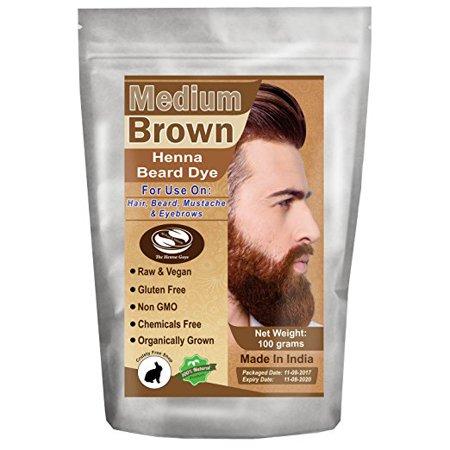 3 Packs Of Medium Brown Henna Beard Dye For Men 100 Grams The