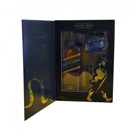 Johnnie Walker Black Label Blended Scotch Whiskey, 750 mL Bottle with Ice Mold and Glass