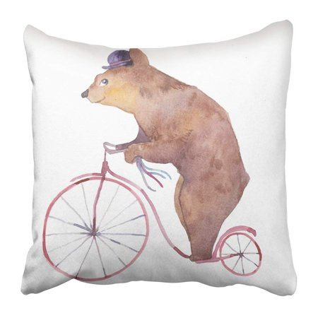 BPBOP Watercolor Cartoon Bear on Retro Bicycle Fairytale Animal with Hat and Vintage Transport White Pillowcase 16x16