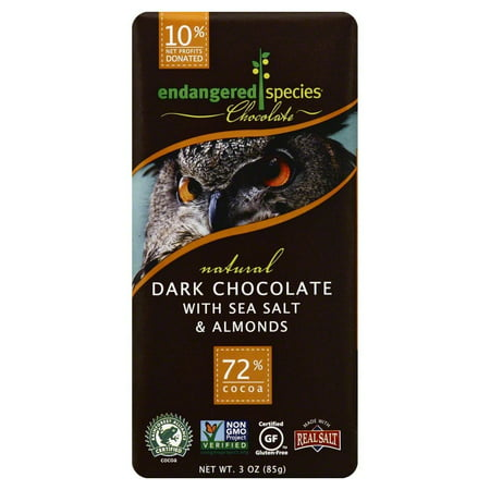 (2 Pack) Endangered Species Chocolate Endangered Species Natural Dark Chocolate With Sea Salt And Almonds Bar, 3 oz