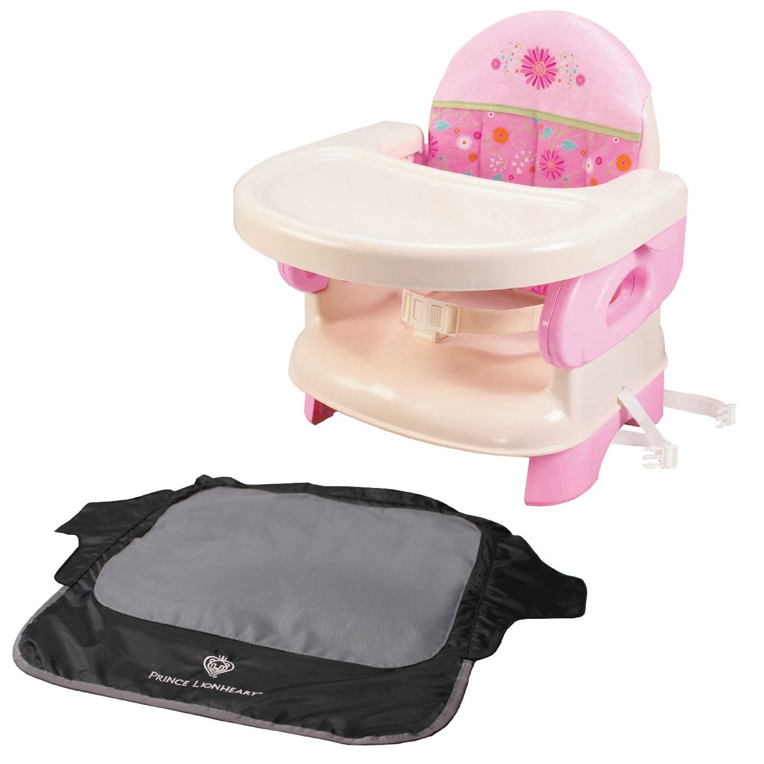 Summer Infant Deluxe Comfort Folding Booster Seat with Seat Neat Chair Cover, Pink