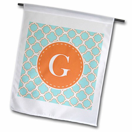 Monogrammed Soap Letter - 3dRose Letter G Monogram Orange and Blue Quatrefoil Pattern - Garden Flag, 12 by 18-inch