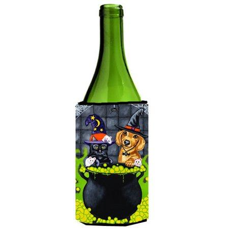 Brewing up Trouble Halloween Dachshund Wine Bottle Beverage Insulator Hugger - Back Bay Brewing Halloween