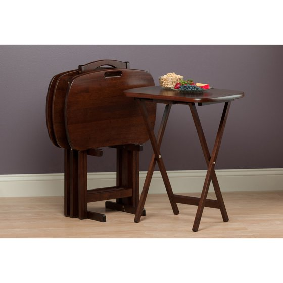 Winsome Wood Lucca 5-Piece Set TV Tables with Handle - Walmart.com