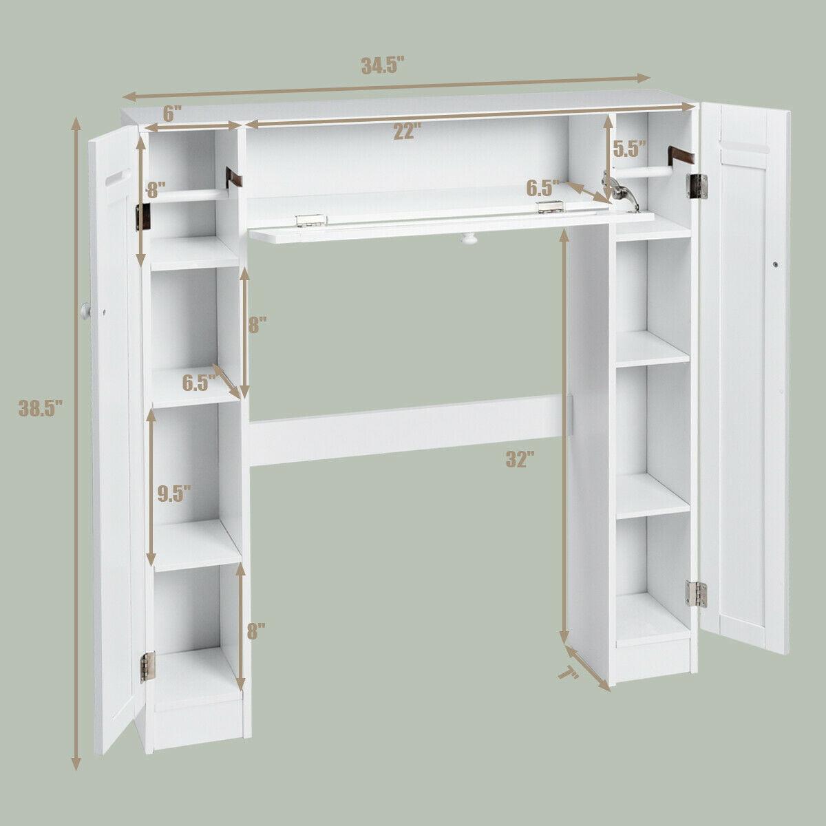 Armoire Gain De Place costway etagère de wc en bois gain de place pour toilette armoire de  toilette etagère de salle de bains 87 x 18 x 98 cm blanche