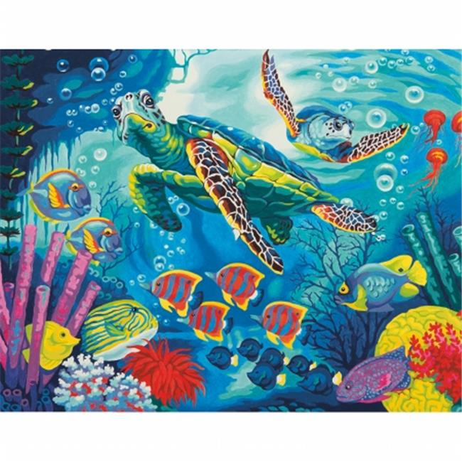 Dimensions 91454 Paint By Number Kit 11 inch x 14 inch-Sea Turtles