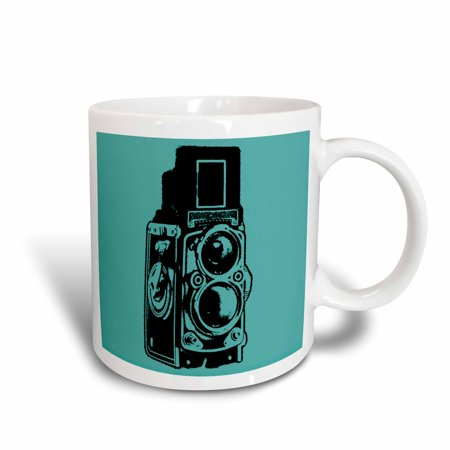 3dRose Picture of a Vintage Twin Lens reflex TLR camera on cyan, Ceramic Mug, 15-ounce