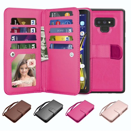 fa78ac546518 Galaxy Note 9 Case, Note 9 Wallet Case, Njjex Luxury PU Leather Wallet Case  with ID&Card Holder Slot Detachable Magnetic Hard Case & Kickstand Case ...
