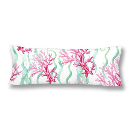 GCKG Watercolor Seamless Sea Coral Pattern Body Pillow Covers Case Protector 20x60 inches - image 2 de 2