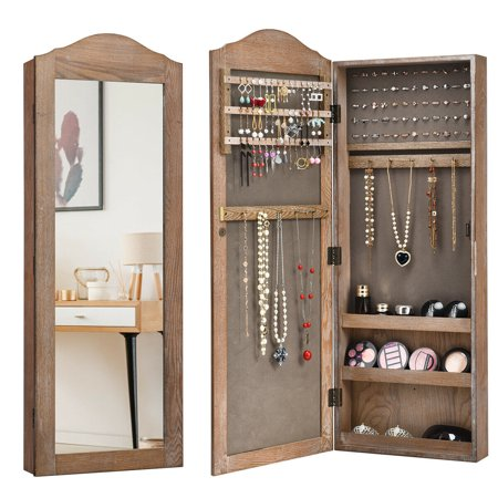 Gymax Mirrored Jewelry Cabinet Armoire, Wall Hanging Mirror With Storage