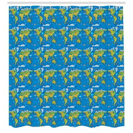 Earthy Shower Curtain World Map In Green Shades And Full Of Funny Animals Kids Geography