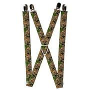 Buckle Down Kids' Elastic 1 Inch Wide Clip-End Camouflage Suspenders