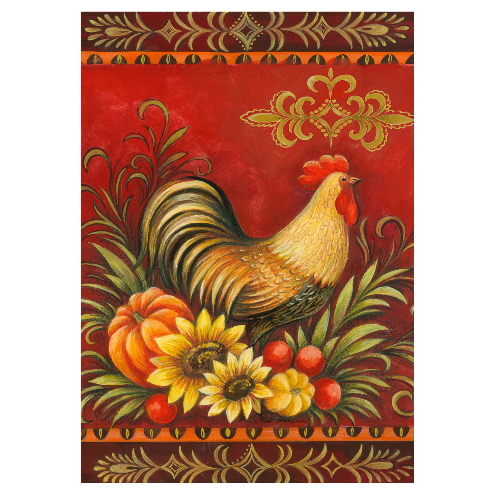 Toland Home Garden Fall Rooster Flag