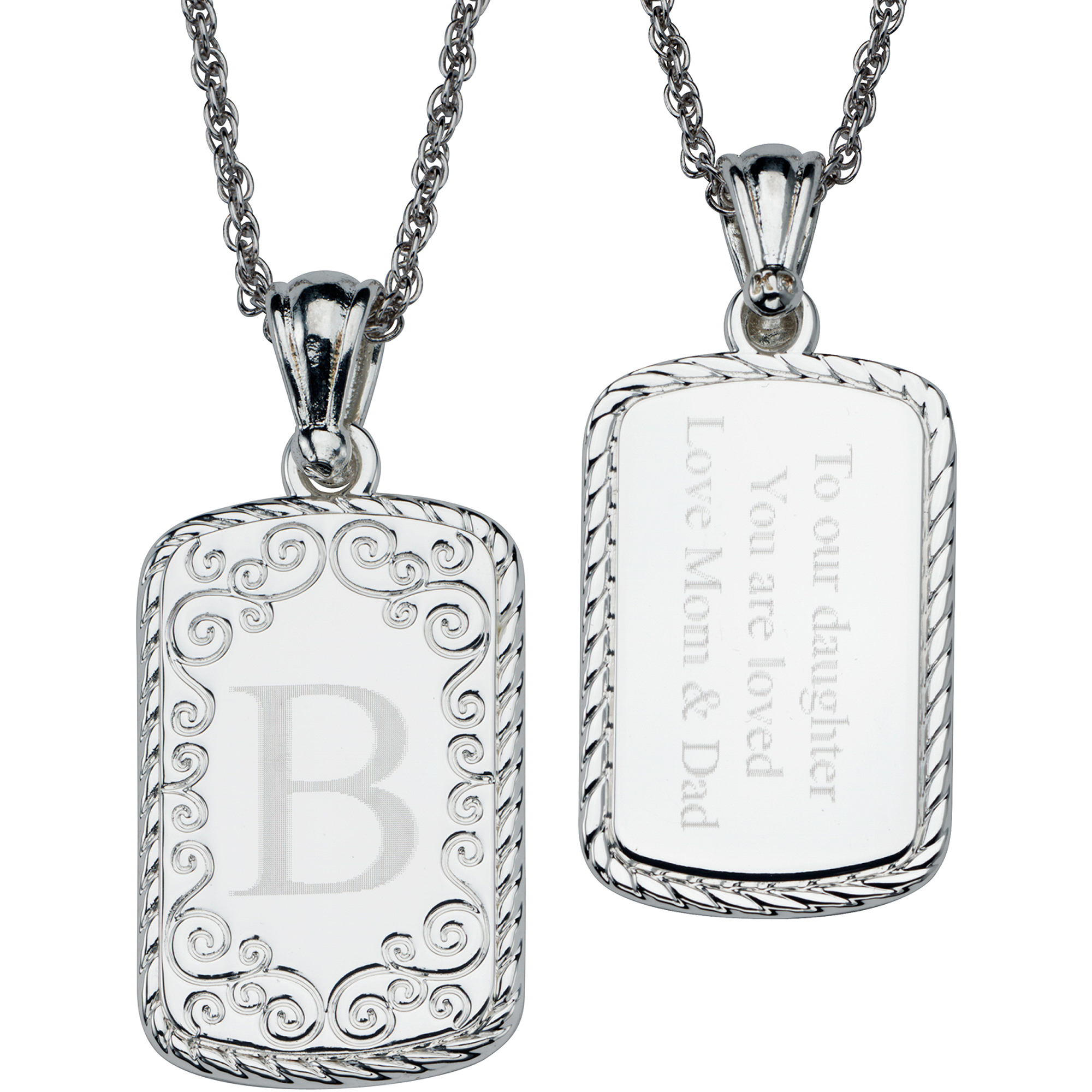 Personalized Women's Silver-Plated Engraved Initial and Message Filigree Rectangle Pendant