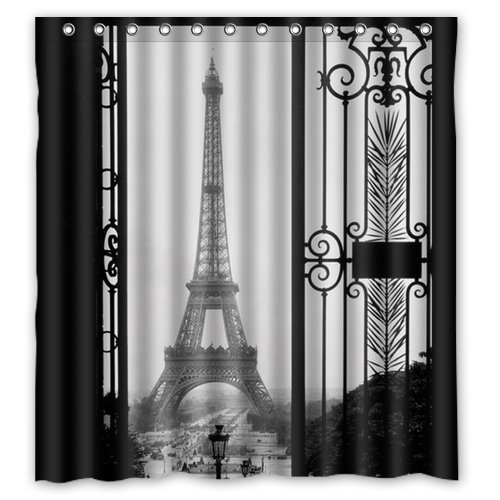 GreenDecor Paris Eiffel Tower Waterproof Shower Curtain Set with Hooks Bathroom Accessories Size 60x72 inches