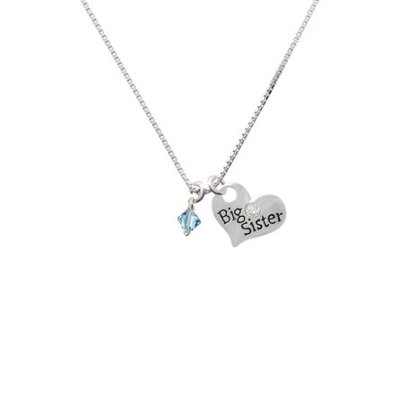 March - Hot Blue - 6mm Crystal Bicone Big Sister Heart Necklace