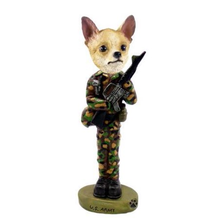 No.Doog06B83 Chihuahua Tan/White U.S. Army Doogie Collectable Figurine