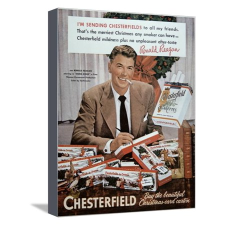 Chesterfield Cigarettes - Chesterfield Cigarette Advertisement Featuring Ronald Reagan Stretched Canvas Print Wall Art