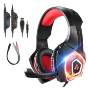 Gaming Headset with Mic for Xbox One PS4 PC Nintendo Switch Tablet Smartphone, Headphones Stereo Over Ear Bass 3.5mm Microphone Noise Canceling 7 LED Light Soft Memory Earmuffs