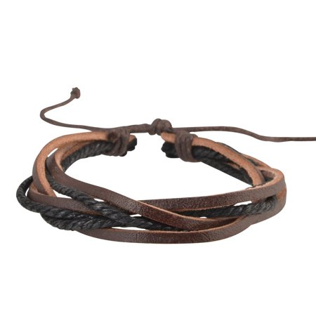 Genuine Real Leather Handmade Bracelet Braided Wristband Woven Multi-layer Men Ladies Size Adjustable Brown/Black