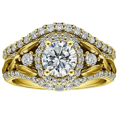 2 Ring Bridal SET:Engagement ring with Diamonds(G,SI1) and Moissanite Center in 10k Yellow gold(2.1tw)