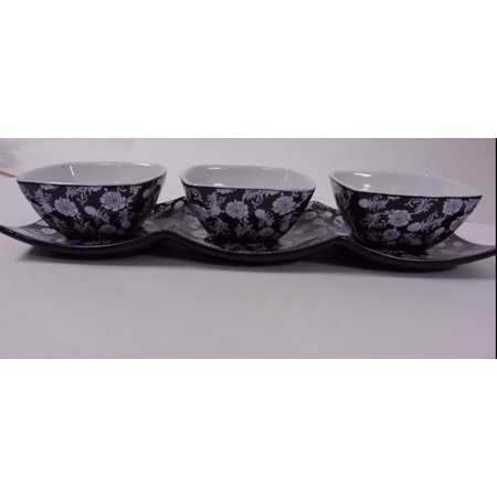 Imperial 4 Piece Ceramic GIFT SET ,  for Dips Condiments , to Entertain, Server/Platter & 3 Serving - 3 Piece Entertaining Set