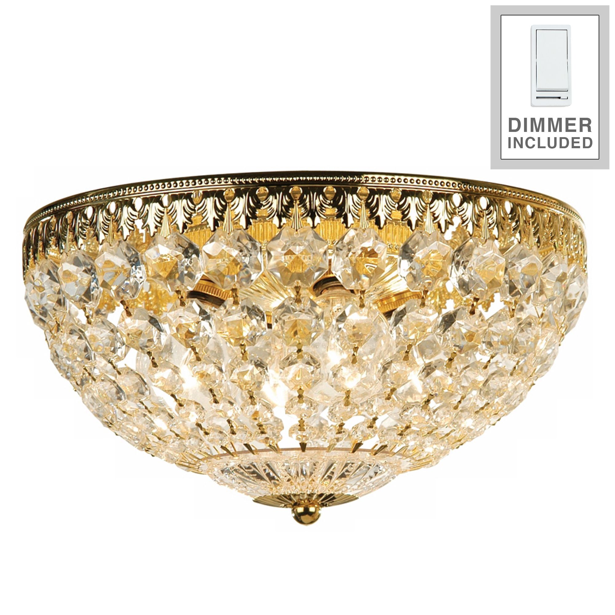 "Schonbek Gold 14"" Wide Crystal Flushmount With Dimmer by Schonbek"