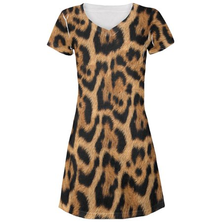 Halloween Leopard Print Costume All Over Juniors Beach Cover-Up Dress](Leopard Print Makeup Halloween)