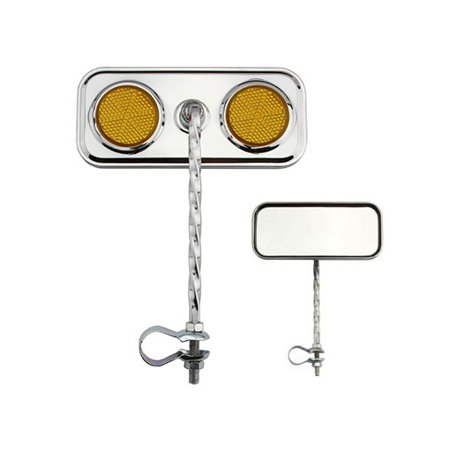 RECTANGULAR SQUARE TWIST BICYCLE BIKE MIRROR CHROME WITH AMBER REFLECTOR Bike part, Bicycle part, bike accessory, bicycle -