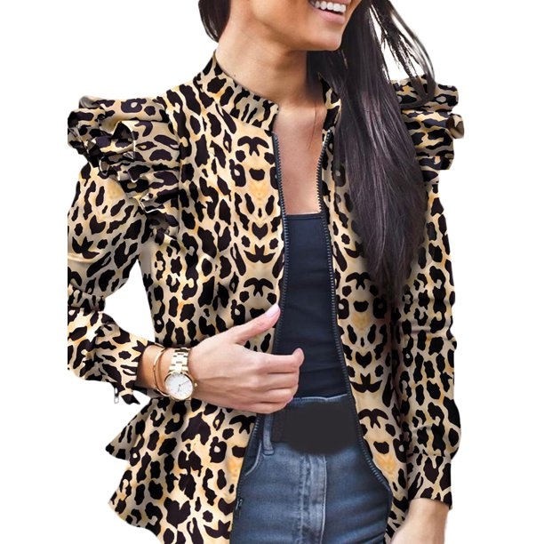 Avamo Womens Jackets Lightweight Zip Up Casual Ruffled Bomber Jacket Leopard Coat Slim Fit Stand Collar Short Outwear Tops Walmart Com Walmart Com Find a great selection of down & puffer jackets for women at nordstrom.com. walmart com