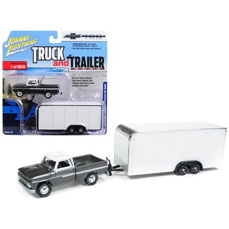 1965 Chevrolet Pickup Truck Silver w/ Enclosed Car Trailer Ltd Ed 6016 pcs 1/64 Diecast Car by Johnny Lightning