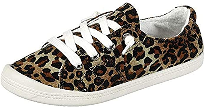 Forever Sneakers Womens Lace Up Shoes Casual Leopard Print Lightweight