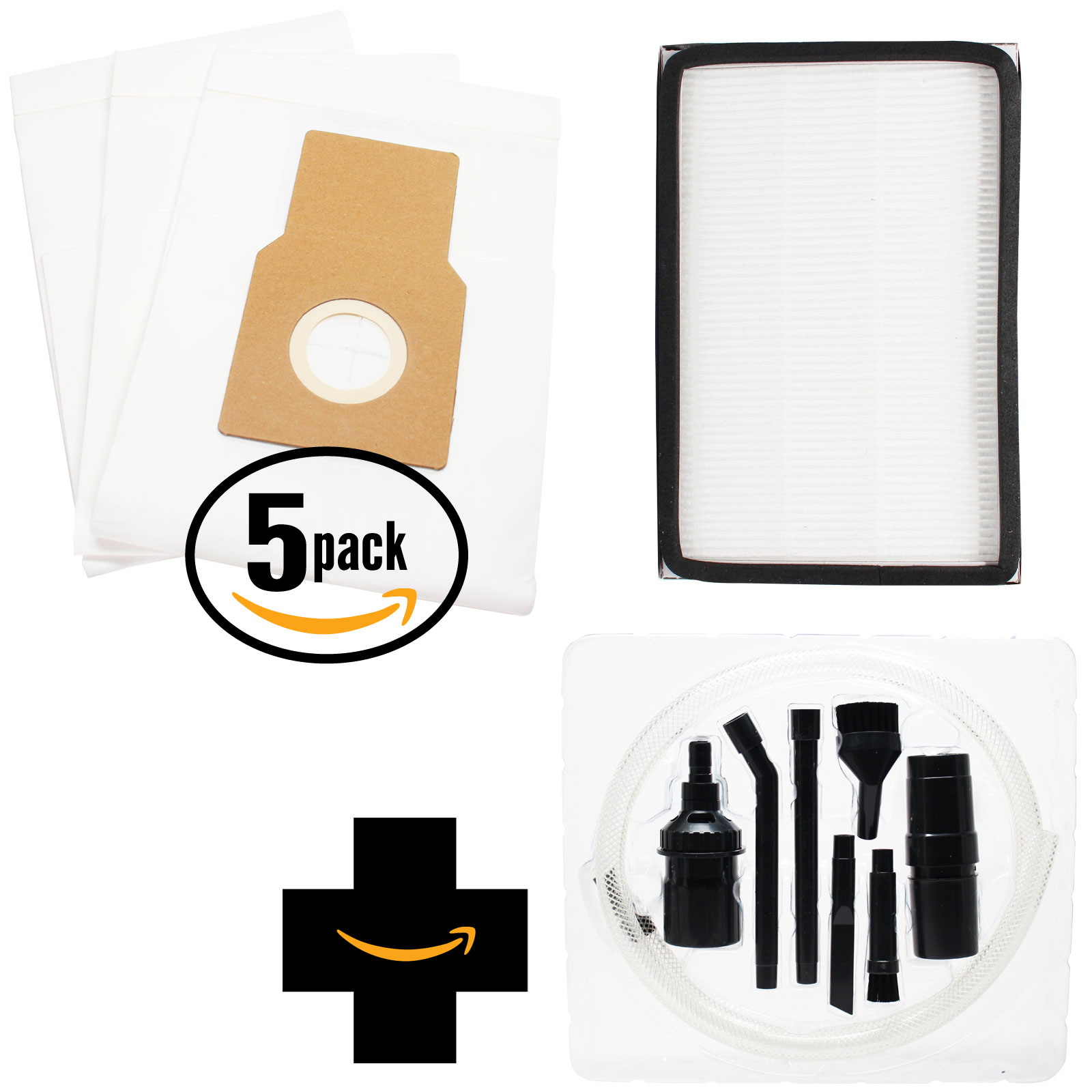 15 Replacement Kenmore 11635922500 Vacuum Bags & 1 HEPA Filter with 7-Piece Micro Vacuum Attachment Kit - Compatible Kenmore 50688, 50690, Type O, Type U & 86889, EF-1 Filter
