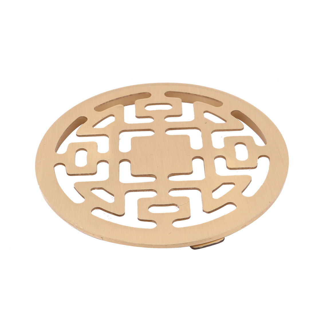 Washroom Stainless Steel Round Water Hair Filter Floor Drain Cover Gold Tone