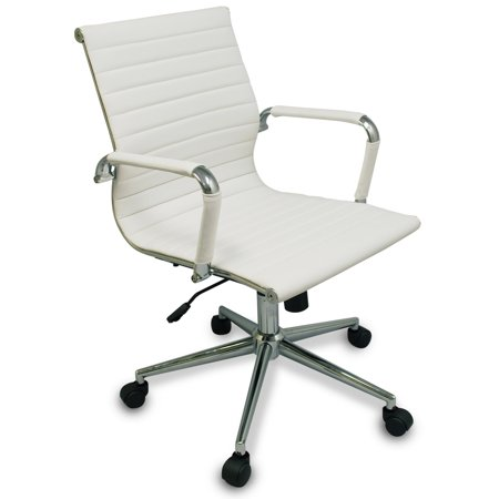 Bodymade Modern Ribbed Office Chair With Chrome Frame  White