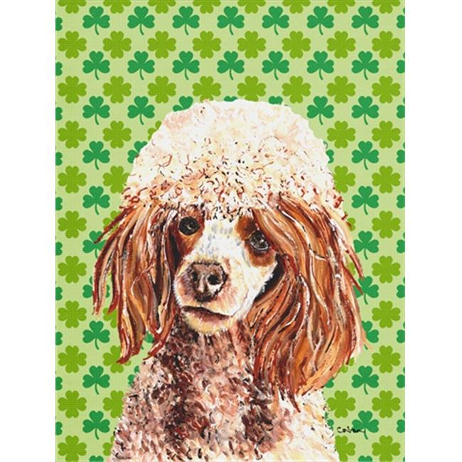 Carolines Treasures SC9723CHF Red Miniature Poodle Lucky Shamrock St. Patricks Day Flag Canvas House Size - image 1 of 1