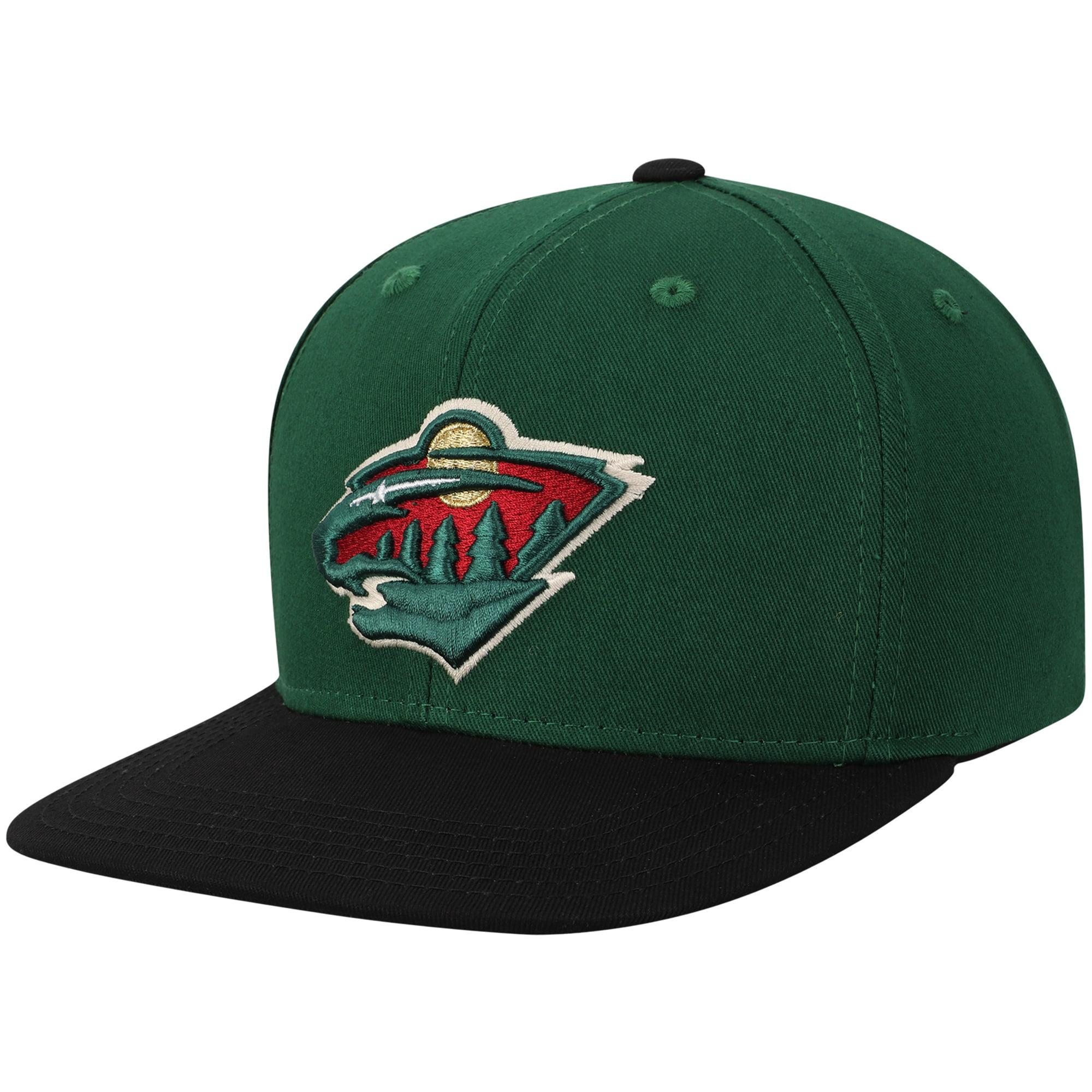 Minnesota Wild Youth Two-Tone Flatbrim Snapback Adjustable Hat - Green/Black - OSFA