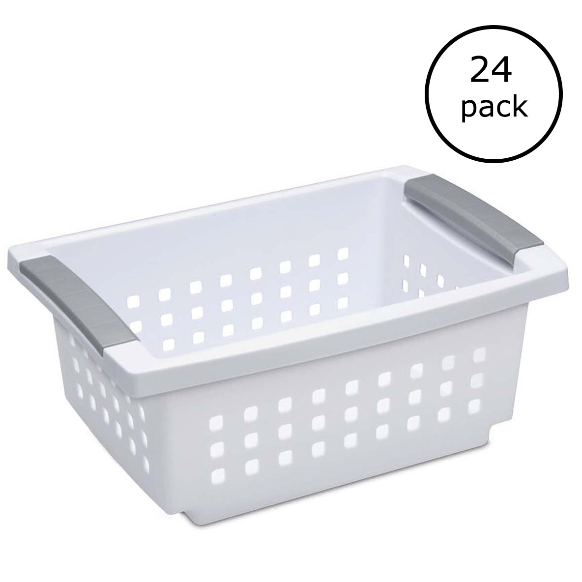Sterilite Small White Stacking Basket with Titanium Accents (24 Pack) 16608006