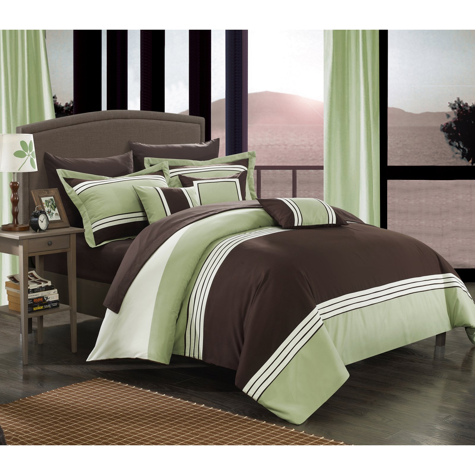 Chic Home 10-Piece Falconia Hotel Collection Striped Patchwork Bed In a Bag Comforter Set