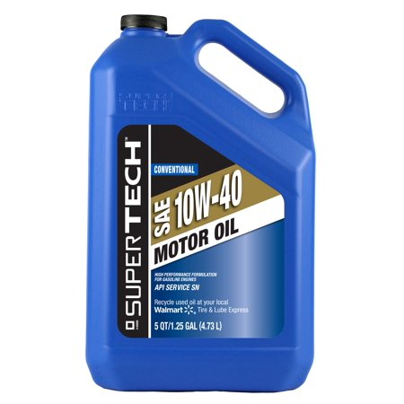 super tech conventional sae 10w 40 motor oil 5 qt jug