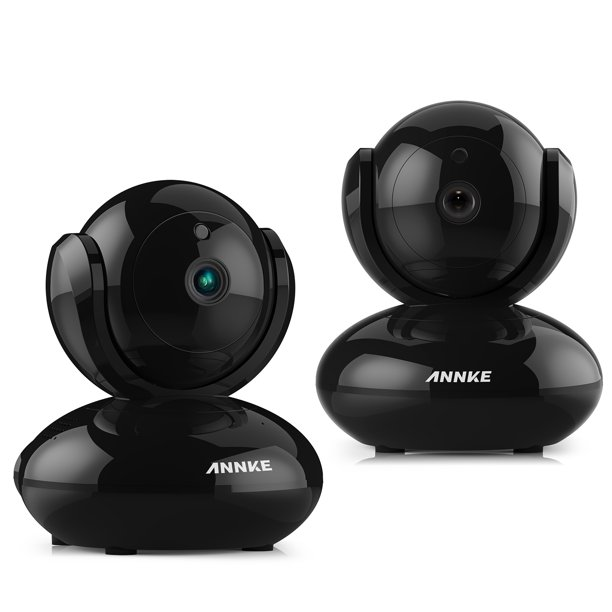ANNKE 2Pcs HD 720P WiFi Video Monitoring Security Wireless IP Camera with Pan/Tilt, Two-Way Audio, Plug & Play Setup, Optional Cloud Recording, Full HD 720P - Black