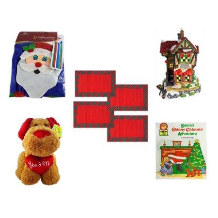 Christmas Fun Gift Bundle [5 Piece] -  Time  Windsock Santa -  Village