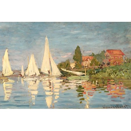 Regatta at Argenteuil, C.1872 Sailboat Coastal Landscape Impressionism Print Wall Art By Claude (Monet Sailboats)