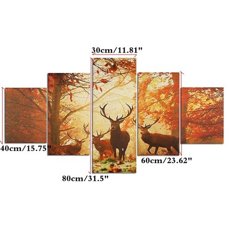 Moaere Handmade Deer Wall Art Oil Painting Giclee Landscape Canvas Prints for Home Decorations Unfamed - image 1 of 7