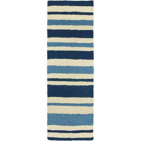 Highland Dunes Candide Nautical Stripe Hand Hooked Blue Beige Indoor Outdoor Area Rug