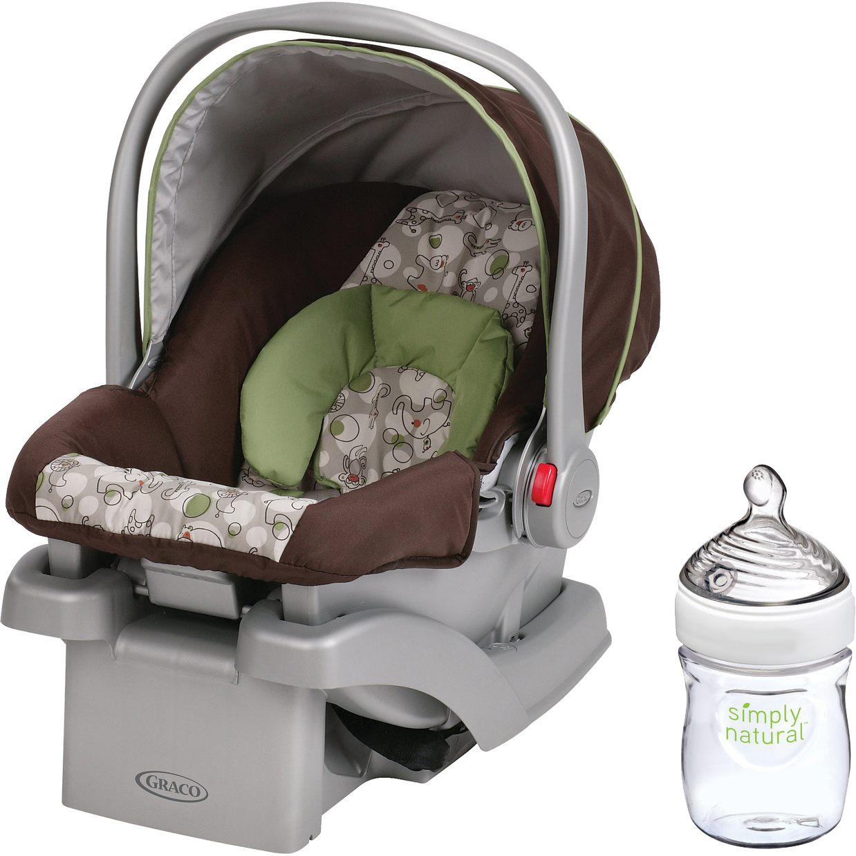 Graco SnugRide Click Connect 30 Infant Car Seat, Choose Your Pattern with Nuk Simply Natural 5oz Bottle, 1 - Pack