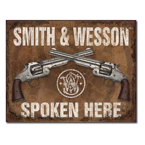 "Smith & Wesson Spoken Here Metal Tin Sign 16""w X 12.5""h Multi-Colored"