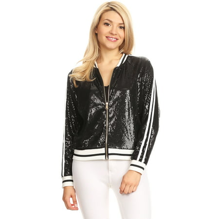 Casual Womens Sequin Long Sleeve Front Zip Jacket with Ribbed